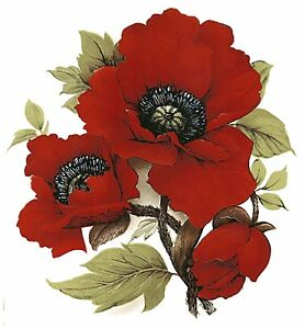 Red Poppy Flower Select A Size Waterslide Ceramic Decals Bx Ebay