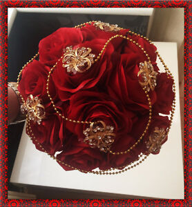 Image Is Loading Brides Wedding Bouquet Red Roses With Gold Brooches