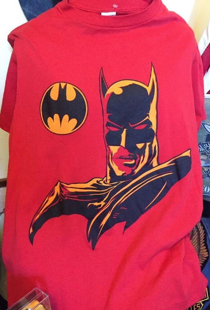 Vintage 80s BATMAN DC Comics Ched  Brand ROT 50/50% Thin T Shirt. Größe Large