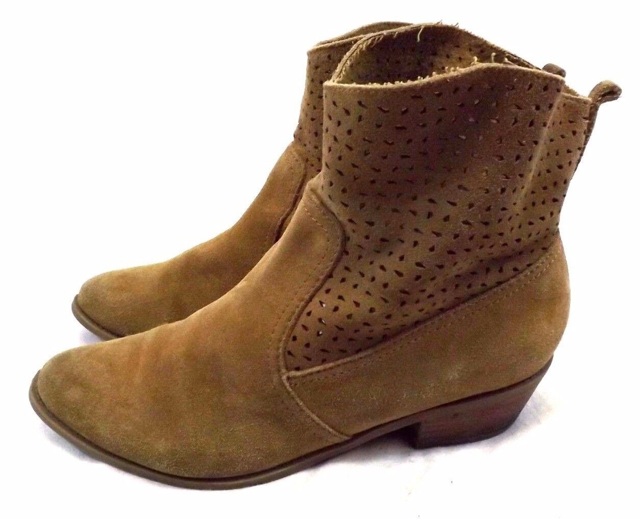 American Eagle Outfitters 10M Women Cowboy Ankle Boots Shoes Brown Suede Leather