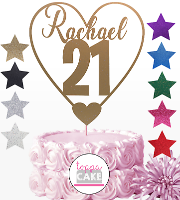Personalised Glitter Birthday Cake Topper Any Age /& Name 16th 18th 21st 30 40 50
