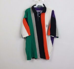 Vtg-90s-Nautica-Mens-XL-Spell-Out-Color-Block-Striped-Short-Sleeve-Polo-Shirt