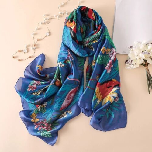 Women Large Silk Scarf Big Size Bird Print Foulard Female Luxury Bright Long Sha