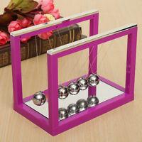 Newton's Cradle Steel Balance Ball Physics Science Pendulum Desk Mirror Purple