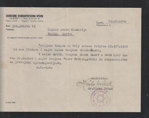 YUGOSLAVIA-JUDAICA-rare-document-1948-autograph-chief-rabbi-Dr-Hinko-Urbah