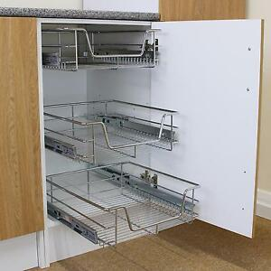 Details about 3 Kitchen Storage Wire Baskets Pull Out Drawer Slide Out  Larder Cupboard 400mm