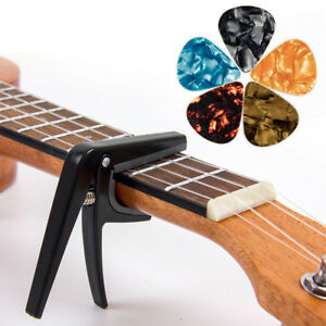 Kmise-Ukulele-Capo-Clamp-Key-Uke-Trigger-with-5-Picks-for-Ukelele-Guitar-Parts