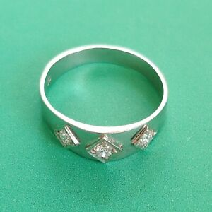 Exklusiver-Art-Deco-Banding-Echt-585-Weissgold-Echte-Diamanten-Real-Diamonds