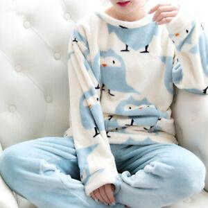 Women-Winter-Warm-Pajamas-Set-Thick-Coral-Velvet-Long-Sleeve-Sleepwear-Homewear