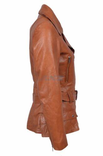 NUOVO Donna Tan Boston WOMAN/'S Retro Designer Reale Morbido Pecora Giacca in pelle Napa