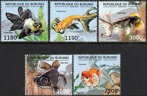 éNergique Goldfish & Poissons D'eau Douce De L'afrique Stamp Set (2012 Burundi)-afficher Le Titre D'origine