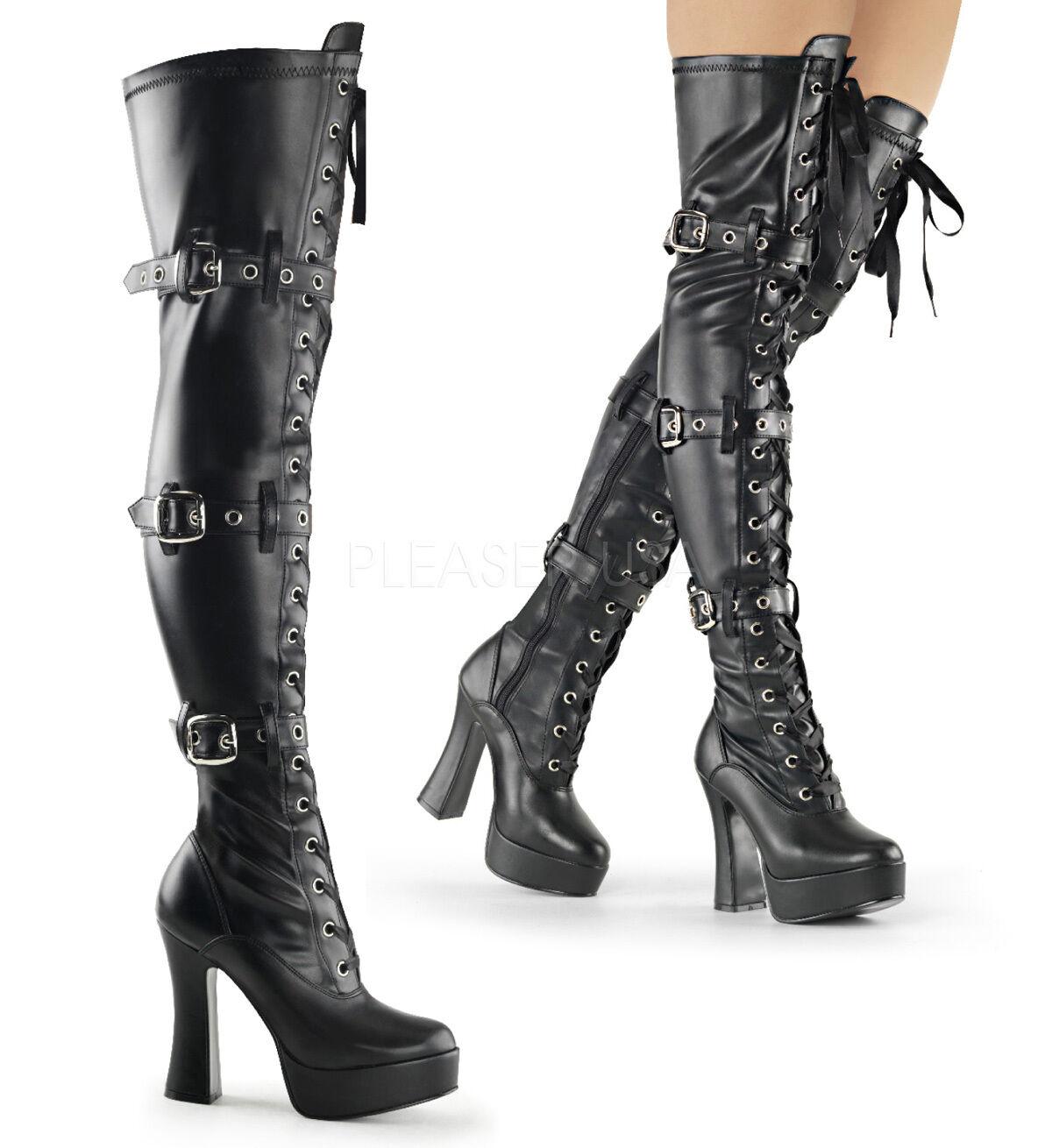 Pleaser 5  Stack Heel Matte Matte Matte Black Thigh High Boots 6 7 8 9 10 11 12 13 14 65465c