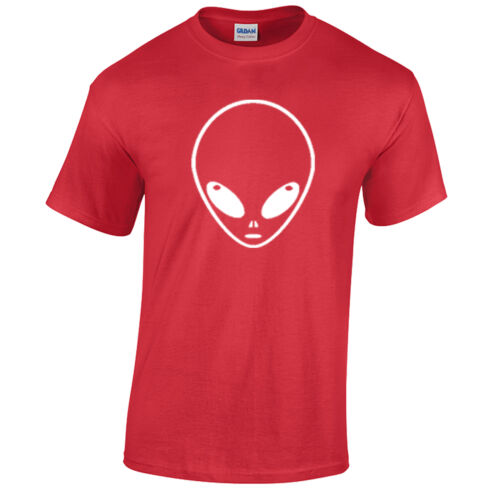 ALIEN HEAD T-Shirt S-XXL RANGE OF COLOURS Mens Space Sci fi Geek UFO space