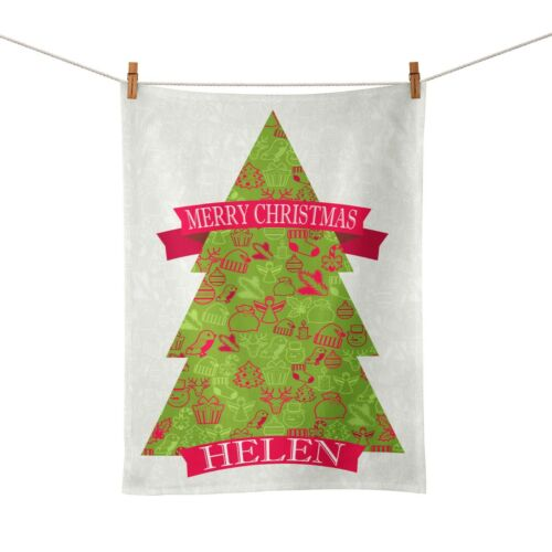 Personalised Any Name Christmas Tree Festive Novelty Gift Tea Towel