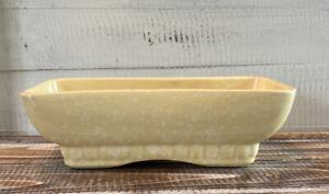 Vintage Mid Century Brush Pottery USA Yellow Cream Speckled Planter