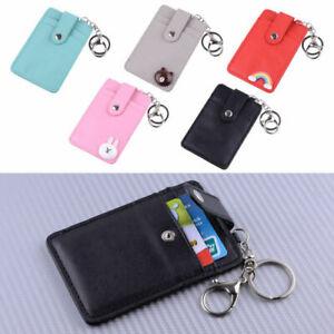 ID-Badge-Credit-Card-Holder-Pocket-Case-Wallet-Keychain-Key-Ring-PU-Leather