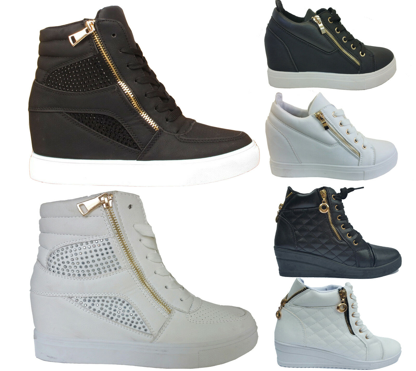 Mujer Ladies Wedge Top Trainers Mid Heel Platform Sneakers High Top Wedge Hi Ankle botas 918cd7