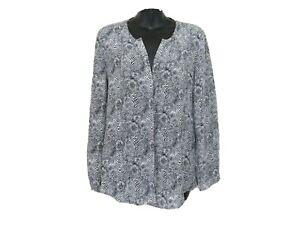 Joie Medium Purine Print Silk Blouse Top Snake Print Split Neck Long Sleeve Gray