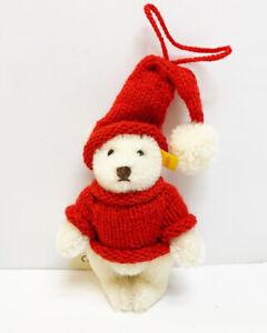 MIB Steiff Mohair White Bear Red Knit Christmas Tree ...