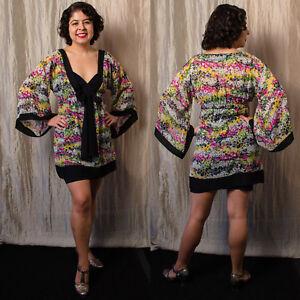 2ed382d53a92 Details about Betsey Johnson Swim XS-S Black Bow yellow wht FLORAL print  chiffon Kimono Dress