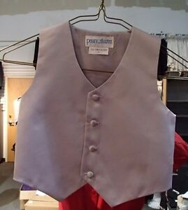 """Boy's """"Peanut Butter Collection"""" Silver Full Back Vest and Long Windsor Tie, New"""