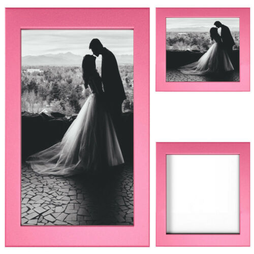 Pink Picture Frame Wood Photo Case Wall Hanging Image Mount Photograph Stand UK