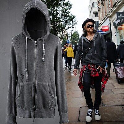 BytheR Men's Fashion Casual Hole-ridden Zipped Side Hood Jacket P000BFWH