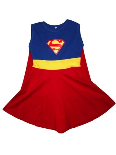 L C Boutique Girls Supergirl Super Hero Play Dress with attached Cape Sizes 2-12