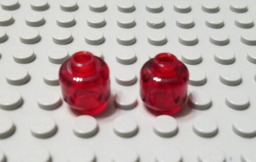 LEGO New Lot of 2 Translucent Red Plain Minifigure Heads