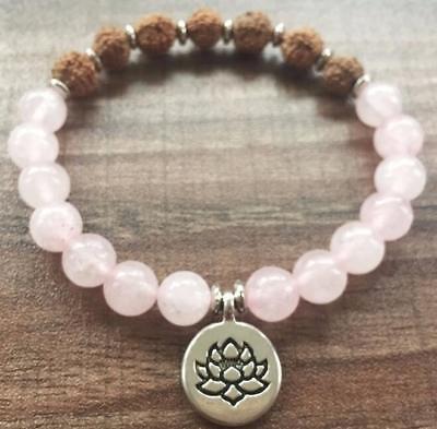 environ 19.05 cm spiritualité 8 mm Rudraksha Quartz Rose Bracelet moine Mala Bouddhisme 7.5 in