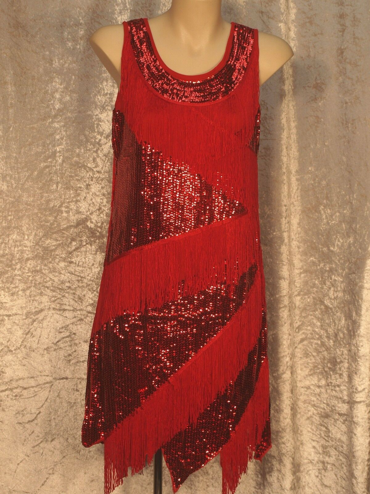 1920's Great Gatsby Style Flapper Party Dress Diagonal Fringe & Sequins