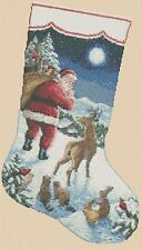 Counted Cross Stitch CHRISTMAS STOCKING Santa w/ Animals  COMPLETE KIT #4-288