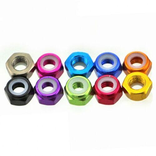 M2 M3 Aluminum Alloy Hex Nuts Nylon Insert Lock Nut Nyloc Nuts Multicolor Choose