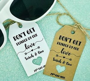 sunglasses wedding favour gift tags thank you rustic label kraft