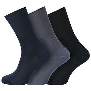 Mens 3 Pack Non-Elastic Diabetic Wellness Bamboo Socks Size UK 6-11 -BLK/NVY/GRY
