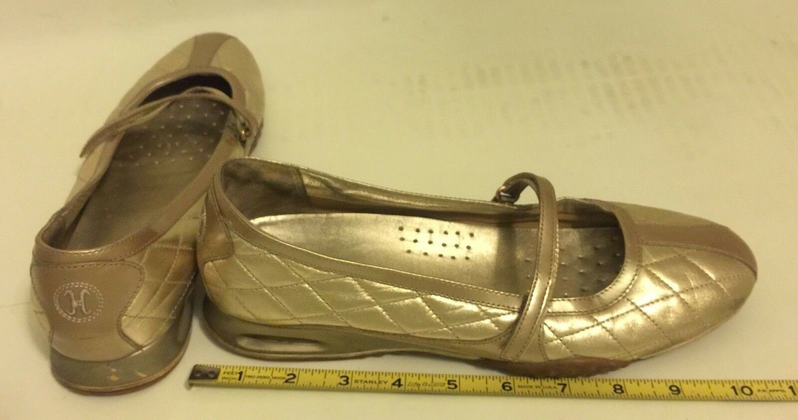 Cole Haan NikeAir Women's 9 US US US gold, Adjustable Velcro-Strap Flats, Mary Janes 2f9ab0