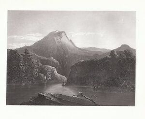 Lake-in-the-ADIRONDACKS-NEW-YORK-STATE-AMERICAN-SCENERY-1854-Antique-Print