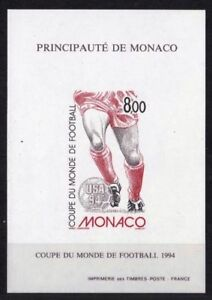 "MONACO MINIATURE SHEET YVERT 25a "" FOOTBALL WORLD CUP 1994 IMPERF "" MNH XF B165 - France - Country/Region of Manufacture: Monaco Quality: Mint Never Hinged/MNH Topic: FOOTBALL Region: MONACO Year of Issue: 1991-2000 Type: Miniature Sheet - France"