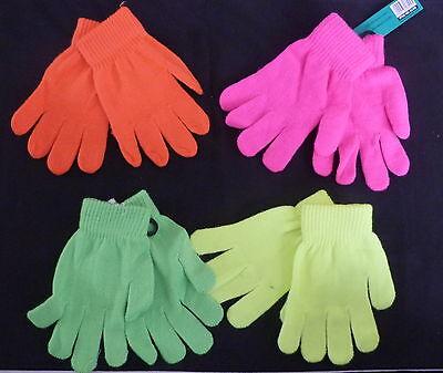 Children Neon Wrist Warmer Thermal Fluorescent Winter Warm Stretch Glo Gloves