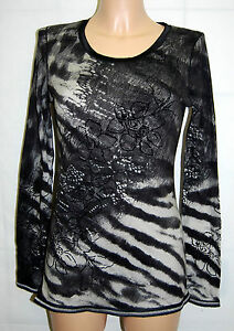 D Nobile Connection Nice 38 floccato velluto Top Shirt Longsleeve 1256 129 New tunica OqpqPxw