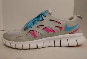 best website a8a94 856ad Image is loading Nike-Free-Run-2-GS-Blue-Pink-Grey-