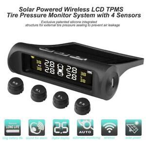 Kabellos-LCD-Solar-TPMS-Auto-Reifendruckkontrollsystem-4-Externe-Sensoren-Bar