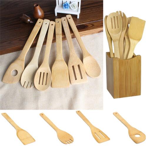 6 x//Set Bambus Geschirr Küche Holz Kochen Löffel Spachtel MixingH5YEGD
