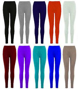 New-Ladies-Womens-Strechy-Plain-Viscose-Full-Lenght-Legging-Plus-Size-8-24