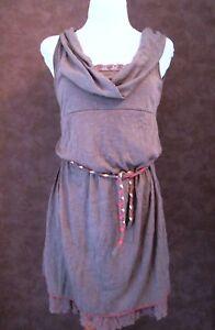 Robe-CACHE-CACHE-T40-Tunique-marron-polyester-dentelle-ceinture-1805014