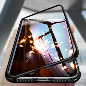 For-iPhone-X-6-7-8-Plus-Magnetic-Adsorption-Metal-Flip-Tempered-Glass-Case-Cover