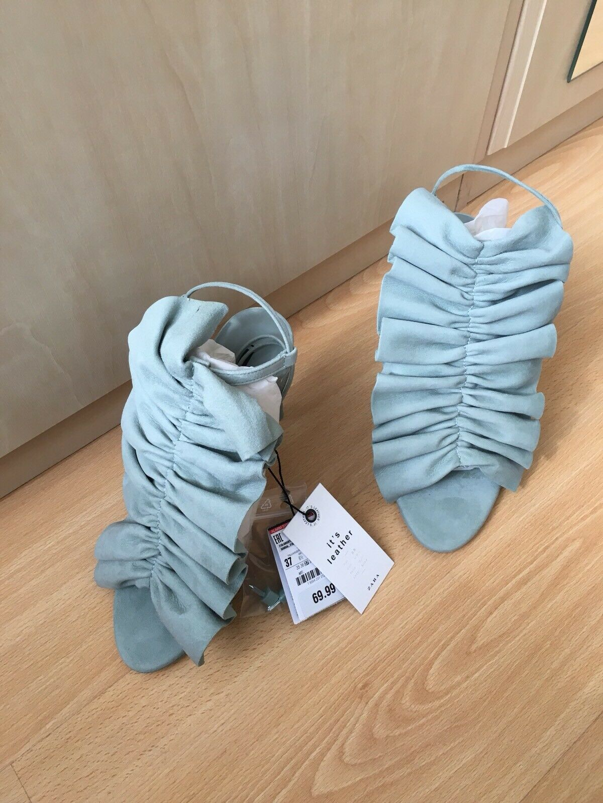 ZARA SKY BLUE SEA GREEN RUFFLED ANKLE LACE UP HIGH HEEL SHOES SANDALS UK 4 BNWT