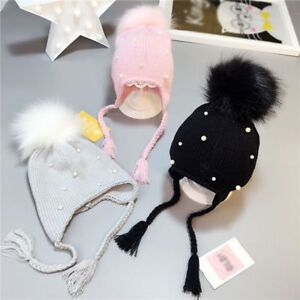 c8f771acd Details about Baby Winter Hat Pom Pom Cap Fashion Pearls Knitted Bonnet  Newborn Accessories