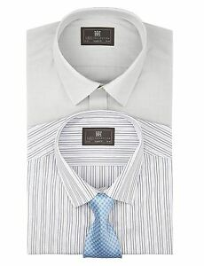 EX-M-amp-S-Marks-And-Spencer-2-Pack-Easy-Care-Long-Sleeve-Assorted-Shirts-With-Tie