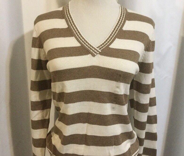 Liz Claiborne Knit Shirt Sweater NWT Women's Medium Beige Sparkle & White Stripe